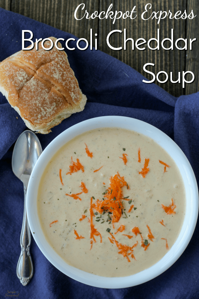 Crockpot Express Broccoli Cheddar Soup checks all the boxes. It's creamy, comforting, delicious, and easy. And thanks to the Crockpot Express, it's on the table in under 30 minutes! #CrockpotExpress #PressureCooking #ComfortFood  via @nmburk