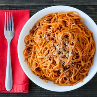 Crockpot Express Spaghetti makes a family favorite even easier to get on the table in record time. It's perfect for busy weeknights and makes for great leftovers, too!