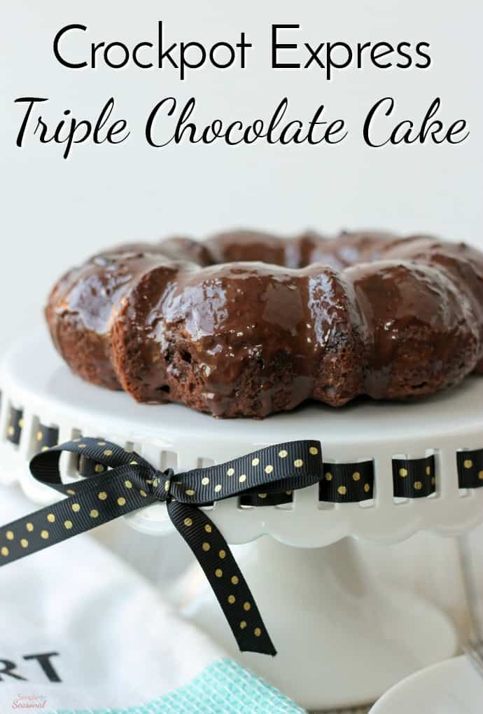 Pressure cooking will never replace baking, but with recipes like this Crockpot Express Triple Chocolate Cake, it can certainly come in as a close second! Fudgy cake, chunky chocolate chips and creamy ganache make this a chocolate lover's dream come true! #CrockpotExpress #PressureCooking #CPE #DessertRecipes  via @nmburk