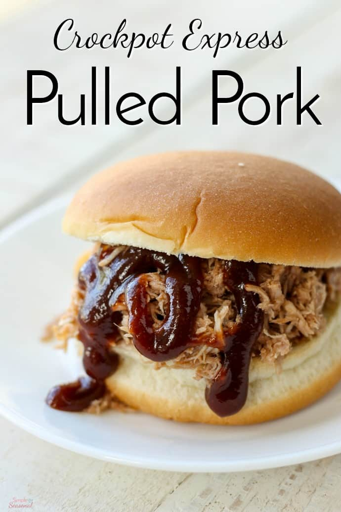 Cook meat for BBQ sandwiches, nachos, quesadillas or even pizza in a fraction of the time with this Crockpot Express Pulled Pork recipe! #CrockpotExpress #CPE #PorkRecipes #PulledPork #Pork #EasyDinnerRecipes #BBQ via @nmburk