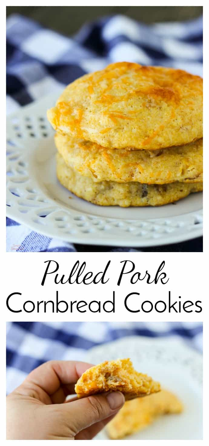 A perfect side dish for any BBQ, pulled pork cornbread cookies are a delicious blend of sweet and savory. They taste great with chili! #Cornbread #PulledPork #Cookies #EasyRecipe via @nmburk