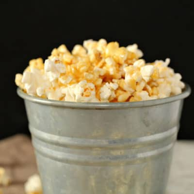 marshmallow caramel corn in a silver bucket