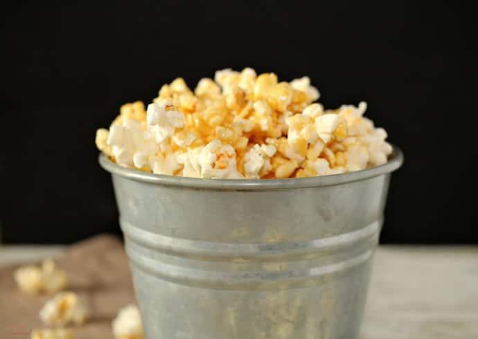 marshmallow caramel corn in a silver bucket