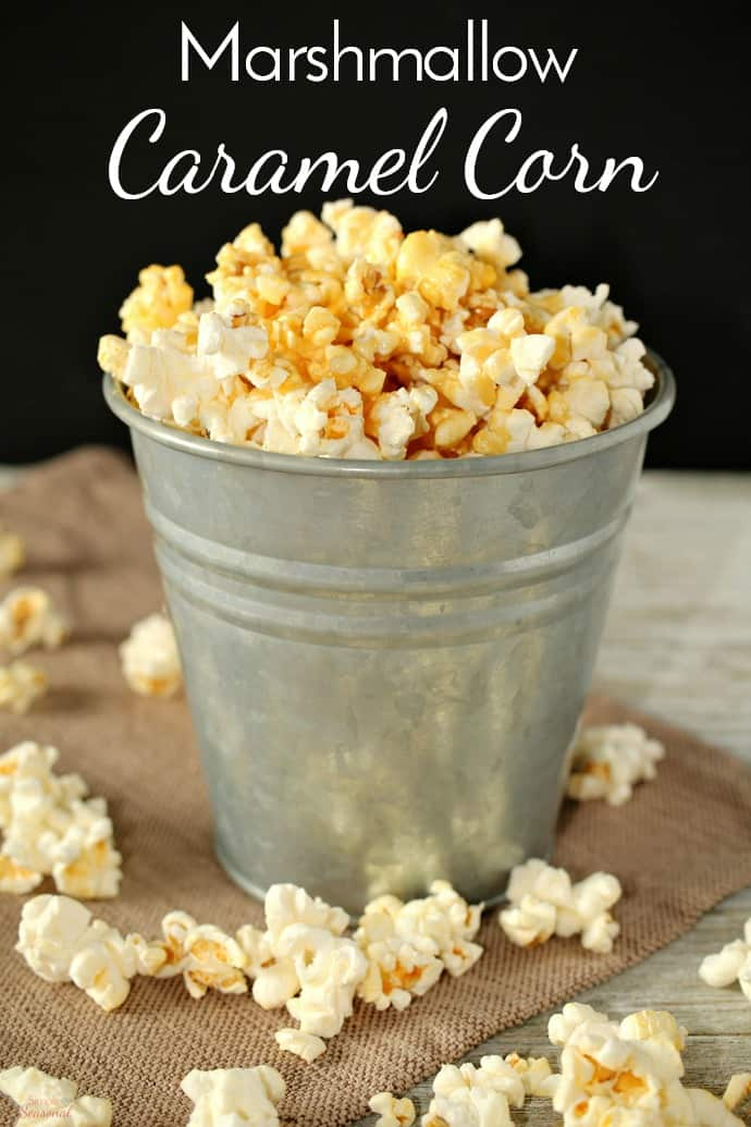 Make movie night a delicious one with this easy Marshmallow Caramel Corn. It's ready in minutes and adds a special touch to everyone's favorite movie snack! via @nmburk