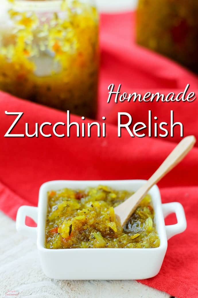 Packed full of flavor, this homemade zucchini relish is a great way to use up all the fresh zucchini hanging around the kitchen!