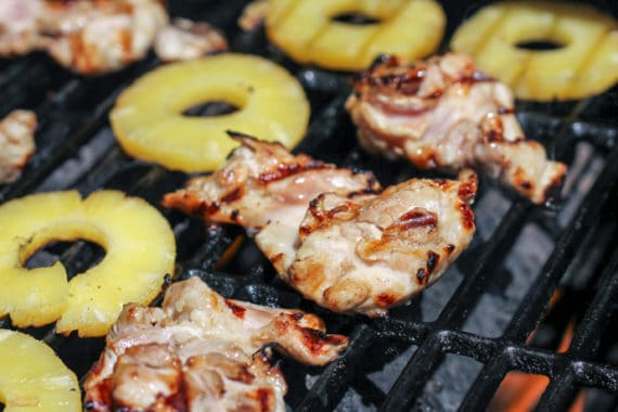 Grilled pineapple teriyaki chicken can be made with a few pantry staples. It's delicious when made with either canned or fresh pineapple!