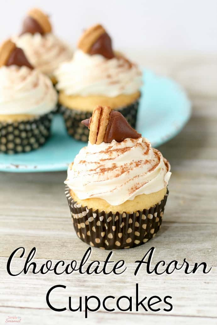 Chocolate and peanut butter come together to make easy, fall-inspired Chocolate Acorn Cupcakes!
