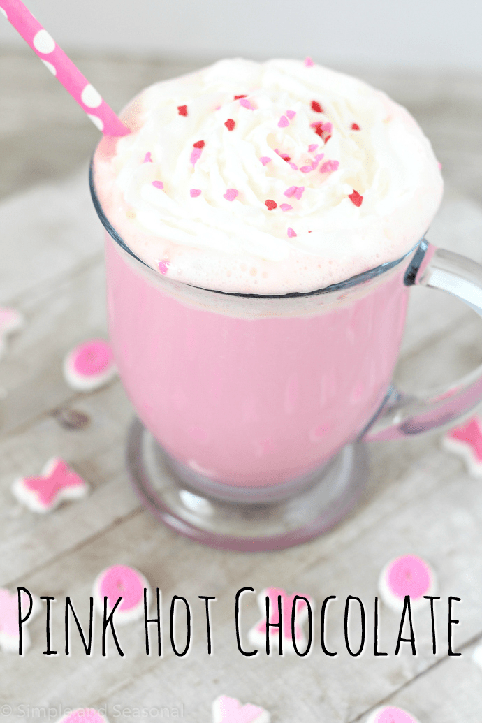 Celebrate Valentine's Day (or any cold winter day) with this creamy and delicious Pink Hot Chocolate. It takes strawberry milk up a notch!