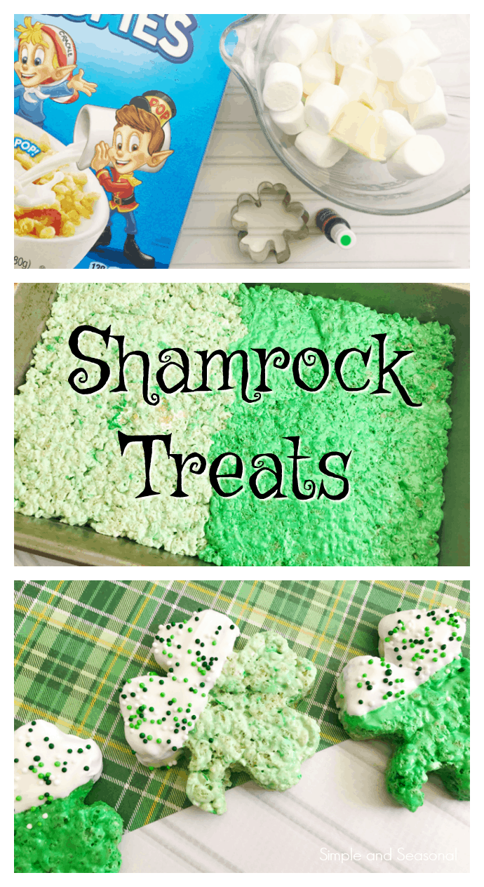 Sweet, chewy and crispy, Shamrock Rice Krispies Treats are a simple and delicious way to celebrate St. Patrick's Day with the kids! via @nmburk