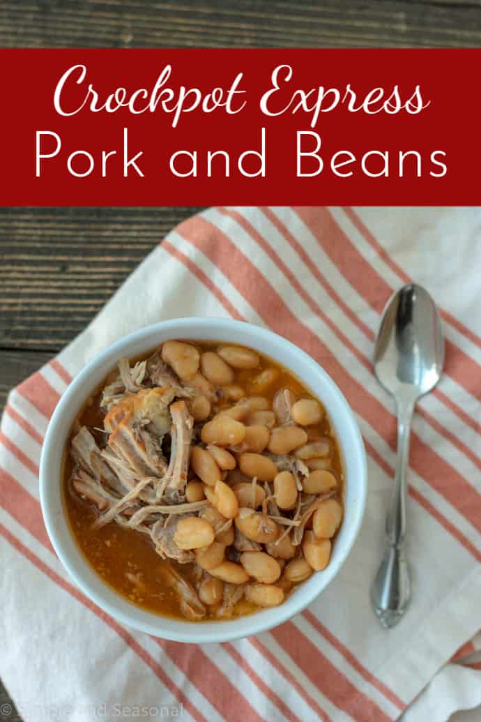Crockpot Express Pork Roast and Beans is a classic comfort food that's also budget-friendly! #CrockpotExpress #pressurecookerrecipes #CPE via @nmburk