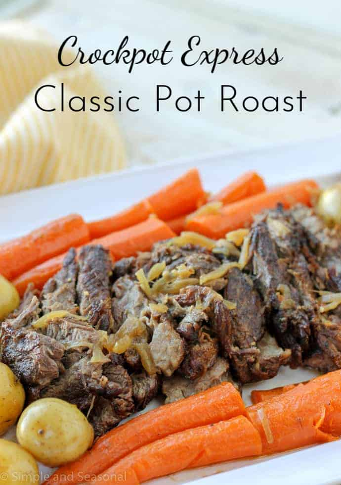 Crockpot Express Pot Roast is a classic meal cooked in a new way that cuts down on cook time and infuses the meat with so much flavor! via @nmburk