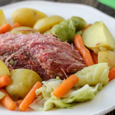 Enjoy this traditional Irish dish this St. Patrick's Day! Crockpot Express Corned Beef and Cabbage is done in a fraction of the time normally required, and it's packed full of flavor.
