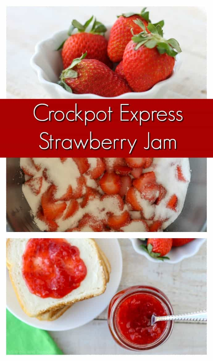 In less than an hour, you can be enjoying fresh Crockpot Express Strawberry Jam! It's perfect for a peanut butter and jelly sandwich or as a topping for sundaes and pancakes. via @nmburk