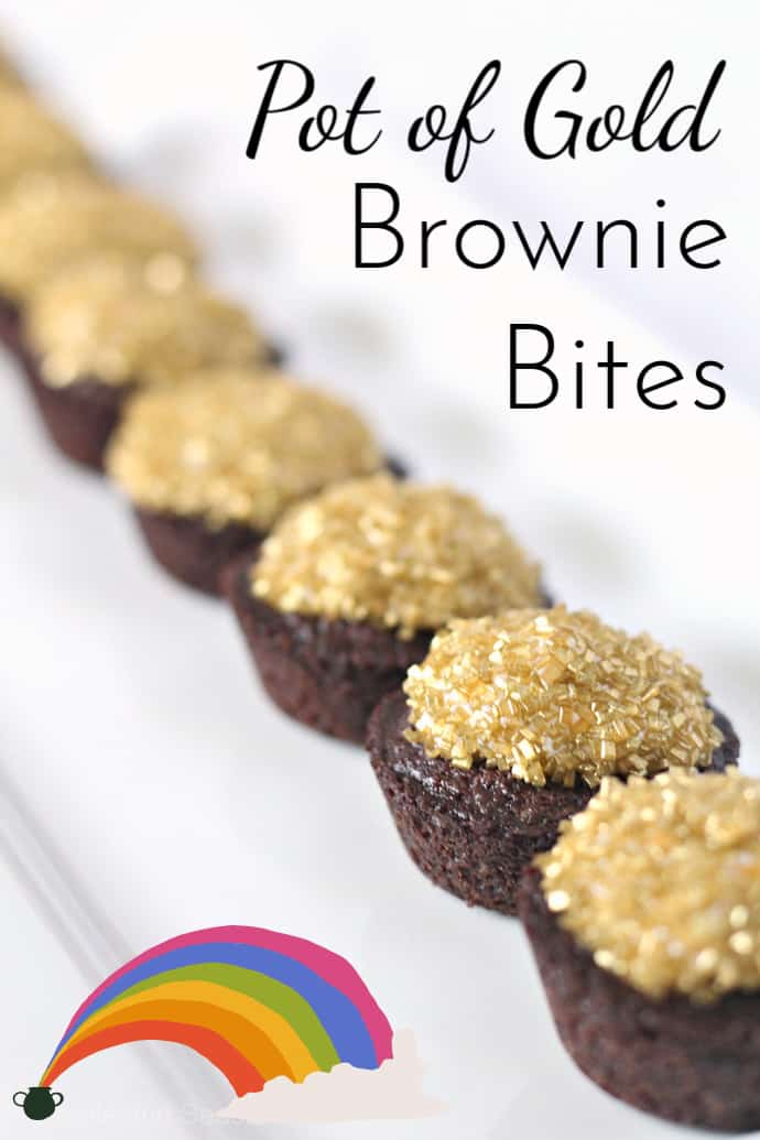 You found the end of the rainbow! Celebrate St. Patrick's Day with these delicious and simple Pot of Gold Brownie Bites. #StPatricksDay via @nmburk