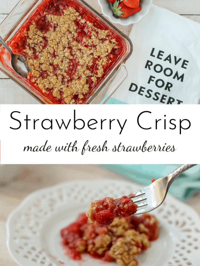 Strawberry Crisp starts with fresh strawberries that create their own delicious syrup and then is topped with a buttery crumble that crisps up and turns golden brown. #Strawberries  via @nmburk