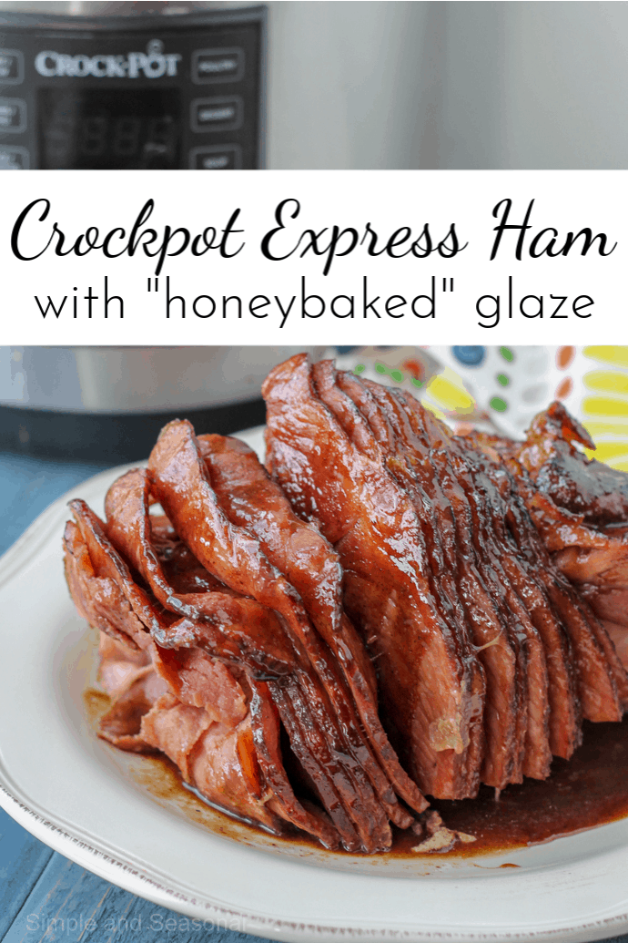 Save space in the oven by making Crockpot Express Ham. Add a delicious copycat HoneyBaked ham glaze for the perfect holiday dinner. #CrockpotExpress #CPE #PressureCookerRecipe #Ham #Easter #Christmas via @nmburk