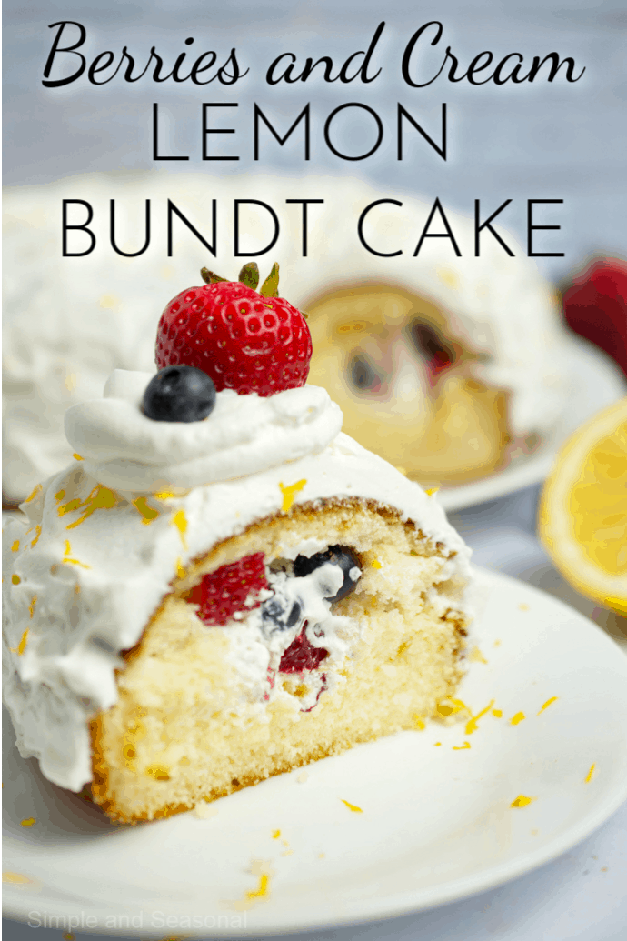 Enjoy the bright flavors of spring with this Berries and Cream Lemon Bundt Cake. It starts with a boxed cake mix, making it a quick and easy dessert. via @nmburk