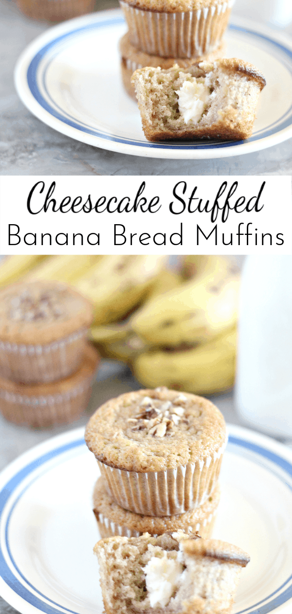 Take banana bread up a level with these Cheesecake STUFFED Banana Bread Muffins! They are a great grab-and-go breakfast for busy mornings. via @nmburk