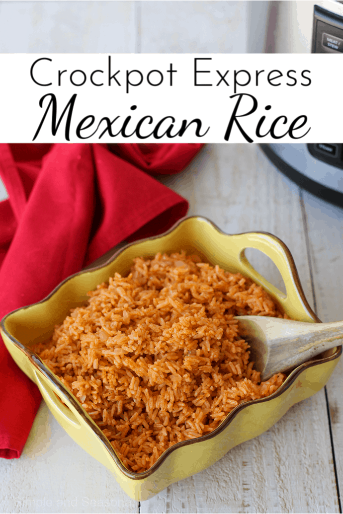 Crockpot Express Mexican Rice is the perfect side dish for tacos, burritos, enchiladas or as the main ingredient in your favorite burrito bowls! via @nmburk