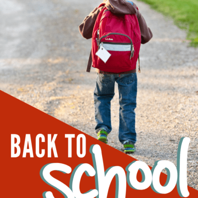child with backpack walking down the lane with text label reading: back to school traditions