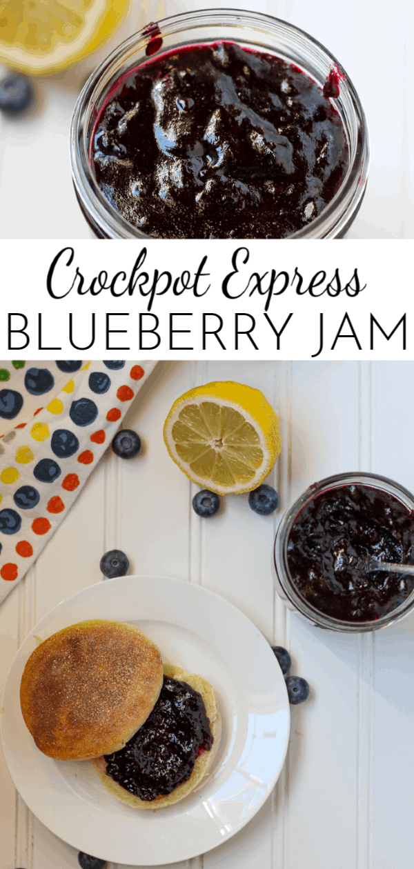 Made with sugar and fresh lemon juice, Crockpot Express Blueberry Jam is the perfect combination of sweet and tart flavors! via @nmburk