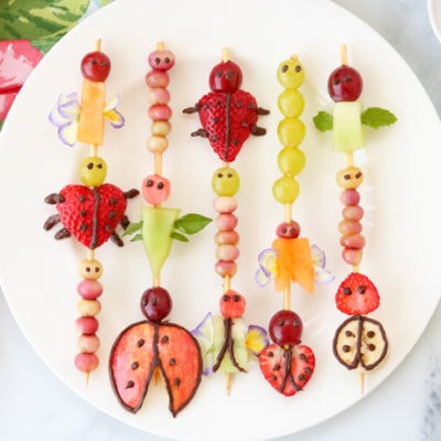 plate of fruit kabobs