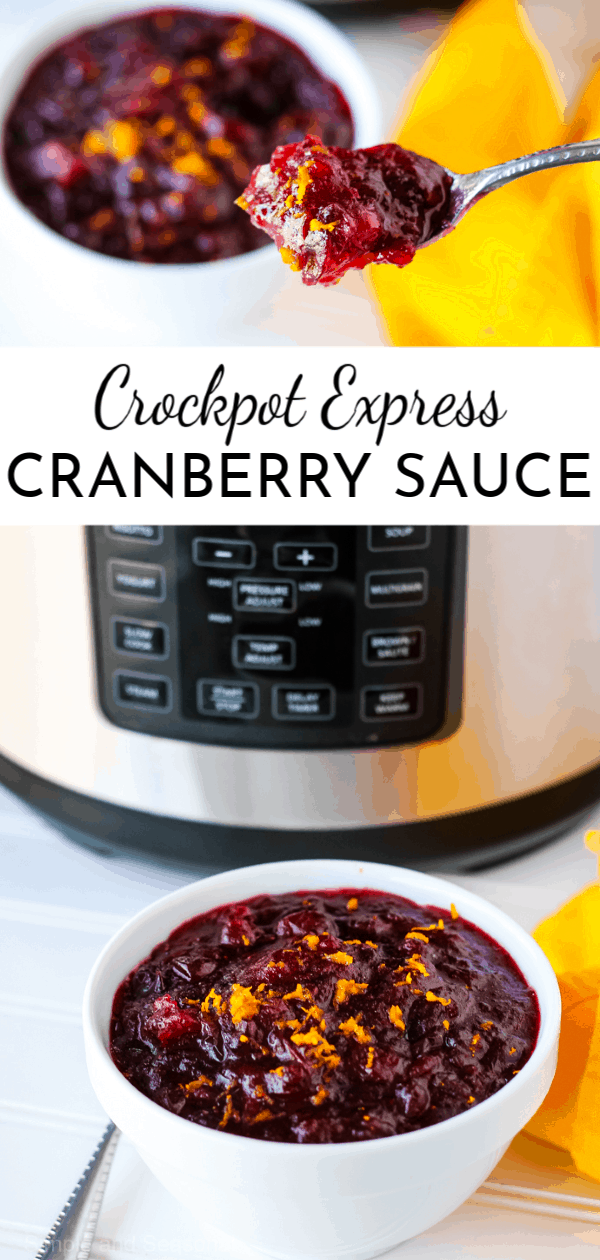 The perfect combination of tart and sweet, Crockpot Express Cranberry Sauce is an easy side dish for Thanksgiving or Christmas that's ready in minutes. #CrockpotExpress #PressureCookerRecipes #Thanksgiving  via @nmburk