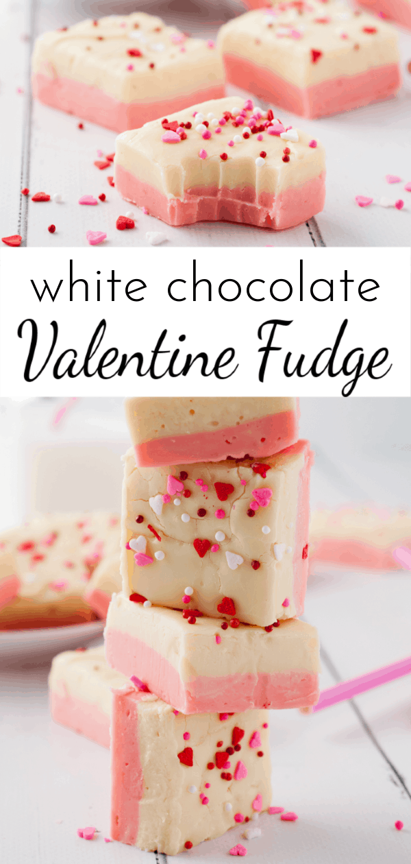 Give someone you love a sweet treat with this easy and creamy White Chocolate Valentine Fudge! via @nmburk