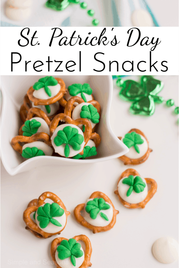 Bring some good luck with you to this year's St. Patrick's Day party! You can make these St. Patrick's Day Pretzel Snacks in just a few minutes and the salty sweet flavor will keep people coming back for more. via @nmburk