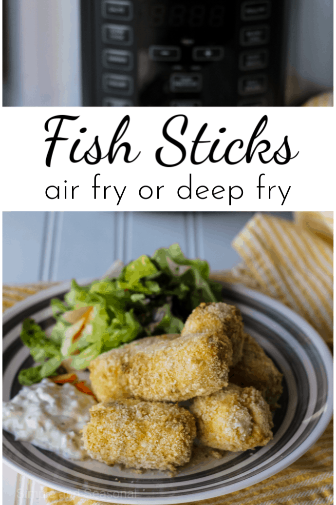 """Skip the processed """"stuff"""" in the freezer aisle and make your own hearty and delicious homemade fish sticks! These are great for kids and adults alike, with instructions for air frying or deep frying! via @nmburk"""