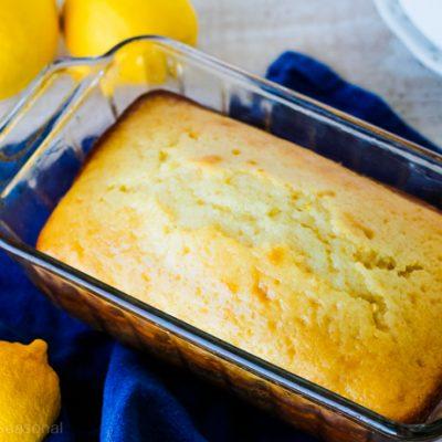 loaf of lemon bread in the pan