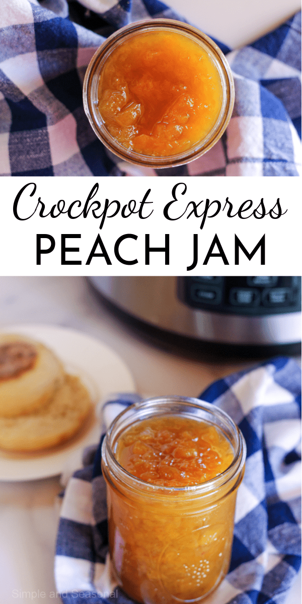 Making jam in the Crockpot Express is so easy, and this delicious Crockpot Express Peach Jam is sure to be a summer favorite! via @nmburk