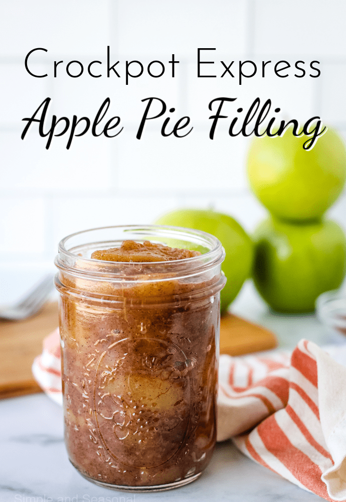 Crockpot Express Apple Filling in a canning jar