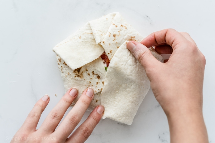 folded up flour tortilla