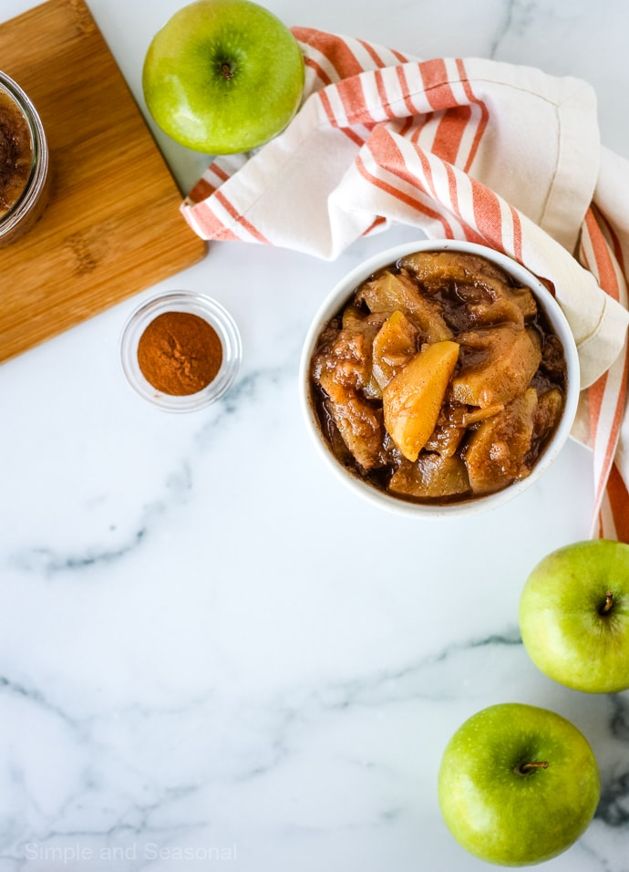 top down view of apple pie filling with ingredients
