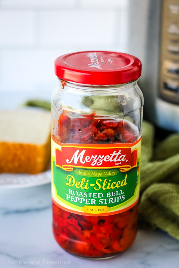 jar of Mezzetta roasted red pepper strips