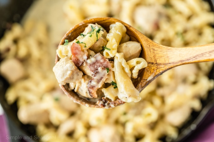 spoonful of chicken bacon pasta