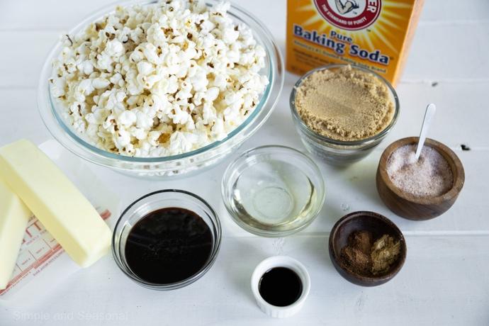 ingredients for gingerbread caramel corn