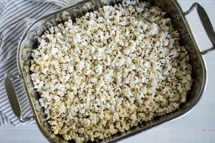 popped corn in a roasting pan