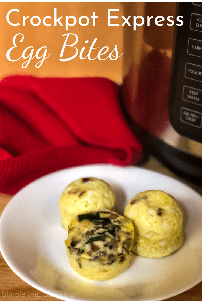 egg bites on a plate with the Crockpot Express in the background