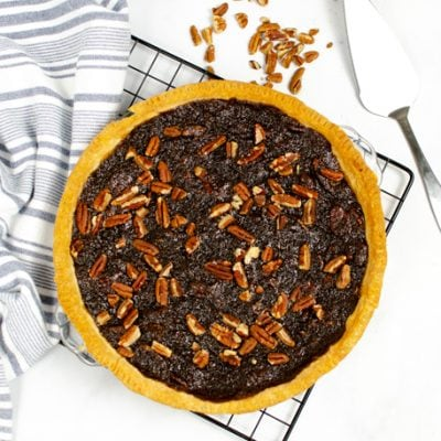 cooked whole chocolate pecan pie