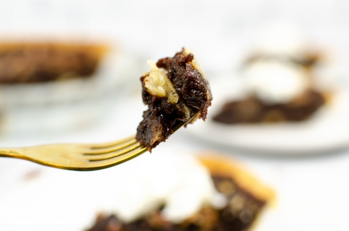forkful of chocolate pecan pie