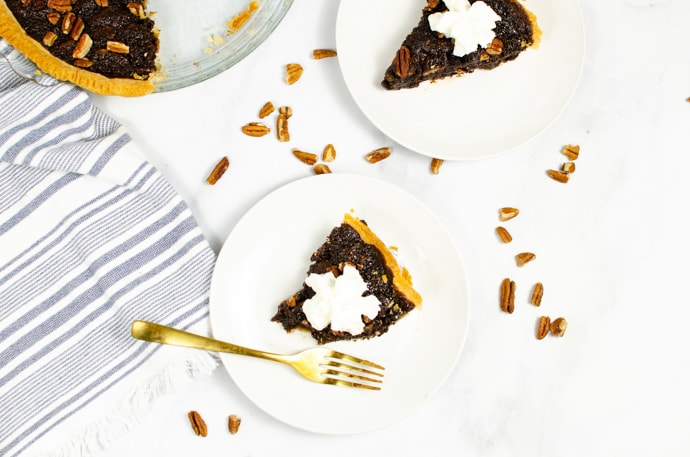 slices of pecan pie on a table top