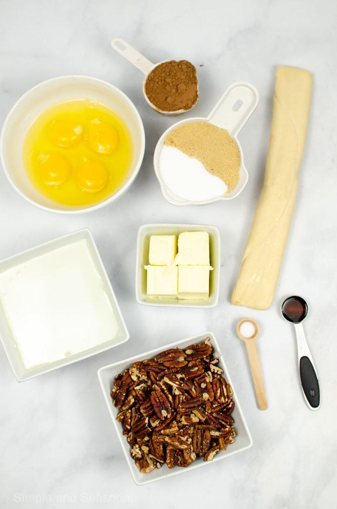 ingredients for chocolate pecan pie