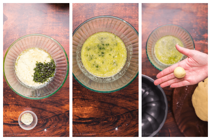 collage image showing steps to mix garlic butter sauce and melt in bowl