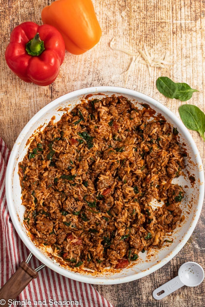 meat and rice mixture for stuffed peppers