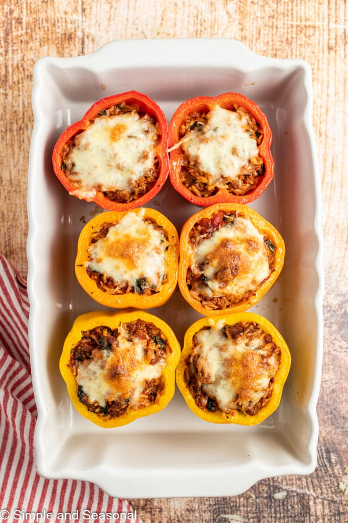 top down view of baked classic stuffed peppers
