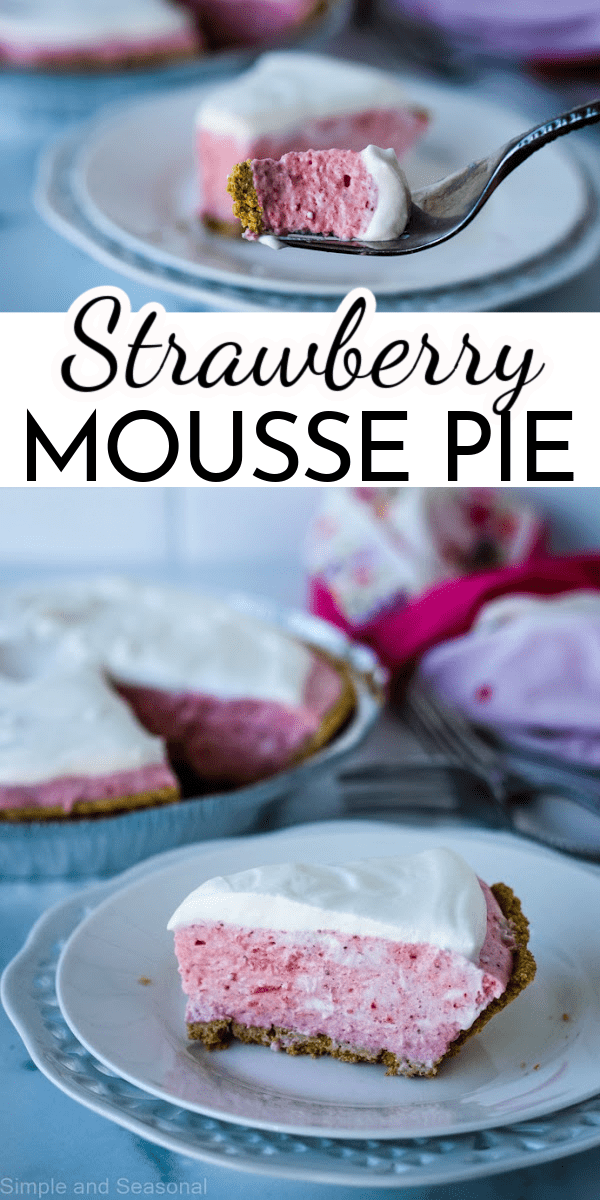 Strawberry Mousse Pie is light, creamy, and bursting with fresh strawberry flavor! Made with fresh strawberries and heavy cream, it's the perfect spring or summer dessert. via @nmburk