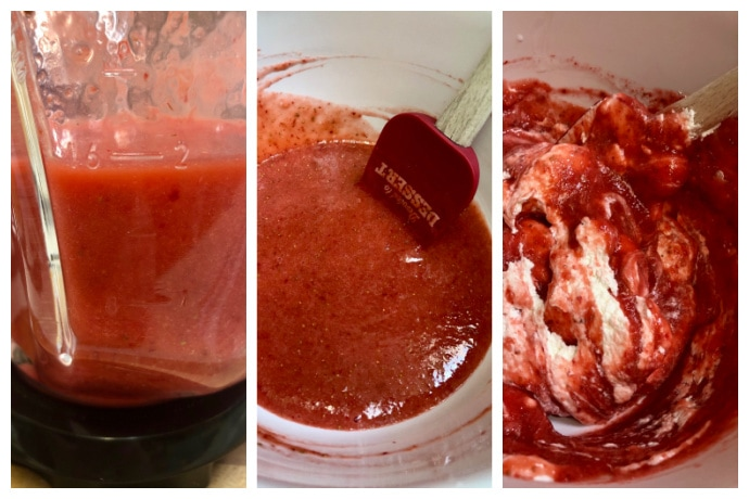 steps 1-3 of making strawberry mousse