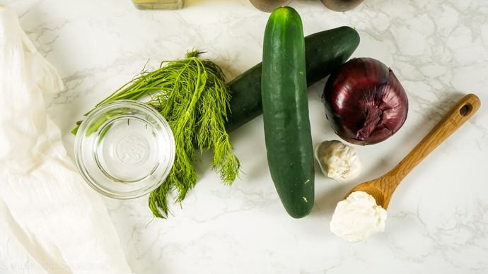 ingredients for creamy cucumber salad